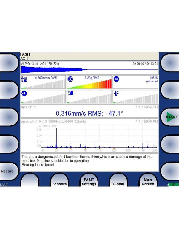 Vibration Analyzer showing the Fault Source Identification Tool (FASIT) screen