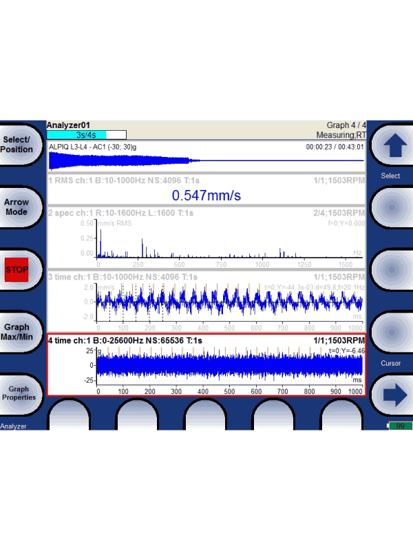Vibration Analyser screen showing waveforms